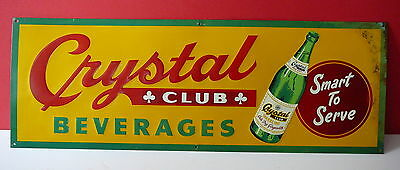 "Vintage 1940's ""Crystal Club Soda"" tin store sign! Excellent original condition!"