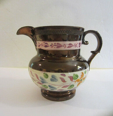 """Antique Pink & Copper Luster Hand Painted Milk Pitcher Creamer. 5 1/2""""H"""