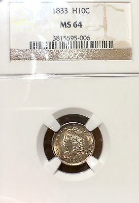 1833 NGC MS64 H10c Capped Bust Half Dime