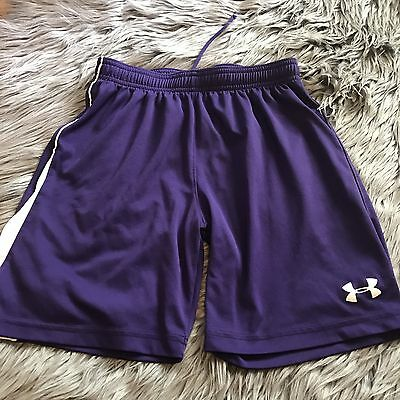 Under Armour Shorts Size Large Purple White Stipe Youth