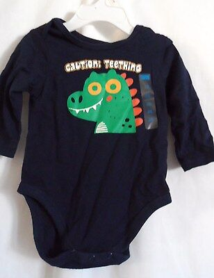 Boys 3-6 Month Blue Caution: Teething Dino Creeper Nwt ~ The Children's Place