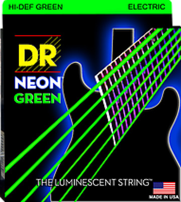 2 Sets Dr Neon Green Electric Guitar Strings 10-46 Luminescent  Color  Usa
