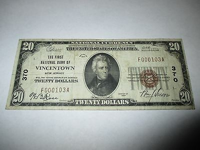 $20 1929 Vincentown New Jersey NJ National Currency Bank Note Bill Ch. #370 VF!