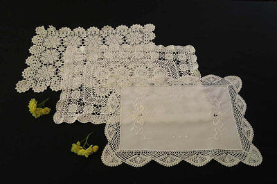 Three Rectangular VIntage Doilies