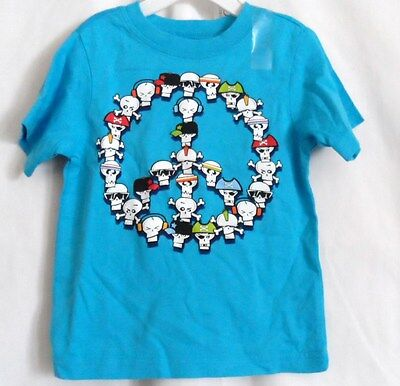 Boys 18 Month Blue Skull Peace Sign S/s Shirt Nwt ~ The Children's Place