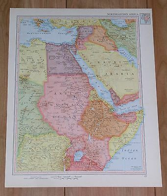 1951 Original Vintage Map Of Egypt Saudi Arabia Sudan / South Africa Rhodesia
