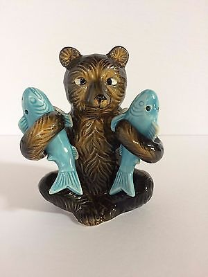 Brown Bear with Blue Fish Salt & Pepper Shakers with Toothpicks - Japan- Vintage