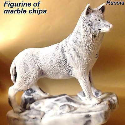 Wolf figurine marble chips sculpture realistic Souvenirs from Russia wild animal