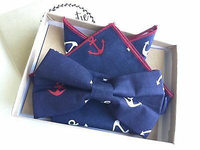 New Boys BowTie Pocket Hanky Boats Blue Anchor Baby Toddler Child Kids USA