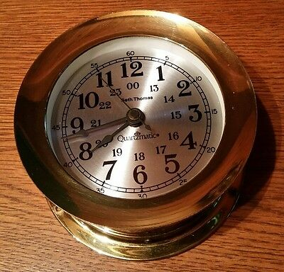 "Vintage Seth Thomas Quartzmatic 5 5/8"" Brass Ship Boat Porthole Quartz Clock"
