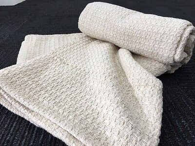 Jacquard Hand Woven Waffle Weave Throw Rug Blanket - Natural & FREE FREIGHT
