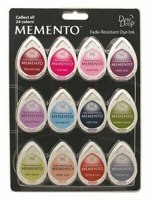 Tsukineko Sorbet Scoop Memento 12 Piece Dew Drop Ink Pad Set MDIP012-200
