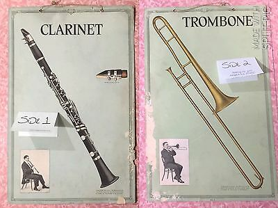 1918 Victor Talking Record Double Sided Poster Clarinet Trombone
