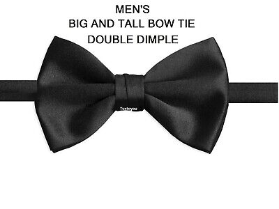 NEW Large Double Dimple Tuxedo Black Bow Tie Satin Pre Tied Banded Best Quality