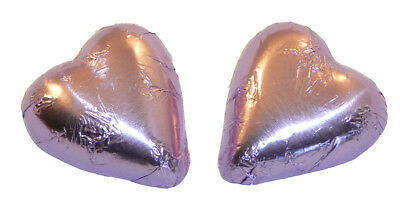 Chocolate Gems - Chocolate Hearts - Lilac Foil (500g bag / approx 60 pieces)
