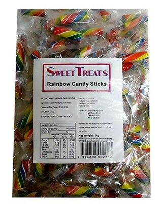 Sweet Treats Rock Candy Sticks - Rainbow (1kg bag)