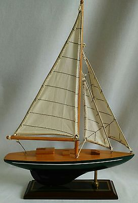 "Wooden Decorative Model Sailboat 10x14"" On Stand Nautical Decor"