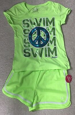 Lot of 2 Justice Girls SWIM Graphic Tee and Matching Mesh Shorts - Size 10-12