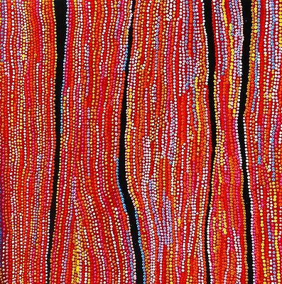 Huge Aboriginal style abstract dot painting  by  Anna Narnina, 100cm by 100cm