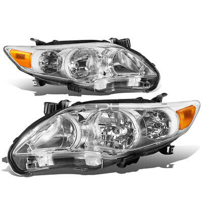 Fit 2011-2013 Toyota Corolla Pair Chrome Housing Amber Corner Headlight/Lamp Set