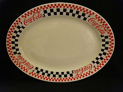 Coca-Cola Oval Serving Plate Platter Checkerboard Pattern by Gibson 1997