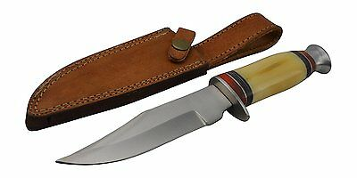 "10"" Bone Handle Skinning Skinner Survival Hunting Knife with Leather Sheath"