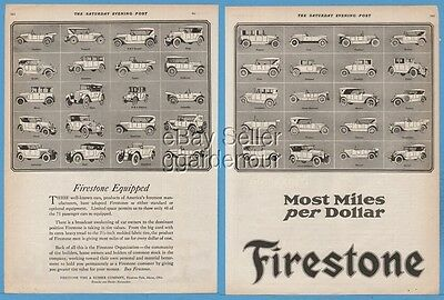 1920 Firestone Equipped Auto Car Models Tires Mercer Maxwell Studebaker Art Ad