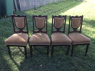 Four Antique, Late 1800's Dining Chairs