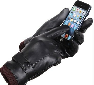 Women's Winter Warm Leather Touch Screen Gloves Motorcycle Men's Winter Gloves