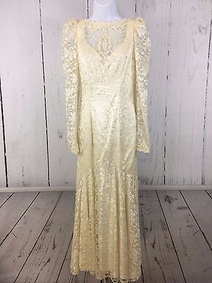 Vintage 80's Ivory Wedding Dress Lace Sequin Beading Puffy Sleeves Mermaid ILGWU