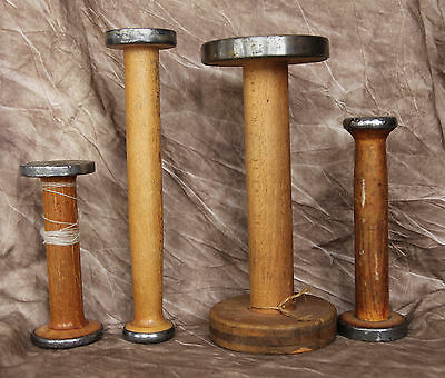 "Lot of 4 Vintage Wood Mill Wool Thread Spool Textile Bobbins Yarn 6"" to 10"""