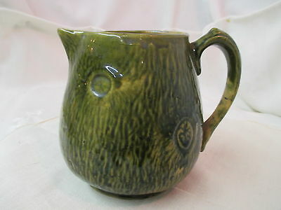 Vintage Art Pottery Hand Crafted Pitcher green/brown Tree Trunk
