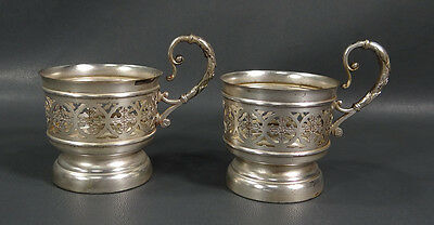 1890s ART NOUVEAU GERMAN WMF SILVER-PLATED BRASS CUP HOLDER COASTER SET 2 WMFM