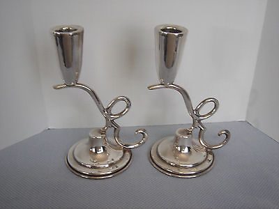 P. Lopez G. Modernist Sterling Silver 925 CandleSticks (pair) Mexico Eagle Mark