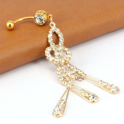 Golden String Rhinestone Body Piercing Jewelry Steel Navel Ring Belly Button