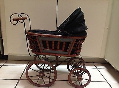 """Vintage Baby Doll Buggy Stroller Carriage Great For Planters 20"""" Tall"""