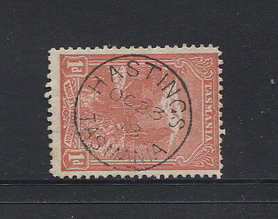 TASMANIA 1908: full clear strike of HASTINGS Type 1 cds on a 1d Pictorial (3439)