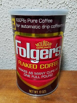 Vtg FOLGER'S FLAKED Coffee Tin 13oz coffee can AUTOMATIC DRIP Mtn Grown Coffee