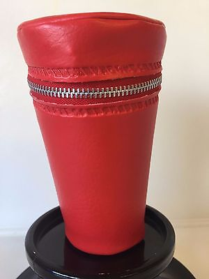 Vintage Retro Anodised Cups In Red Holder