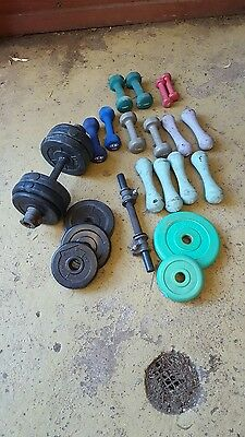 Bulk Lot of Weight Plates and Dumbells