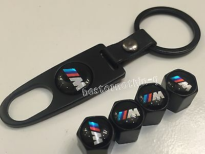 4 x Black Tyre Valve Dust Caps WITH KEY RING (fits Bmw) M logo 5 4 3 2 1 X5