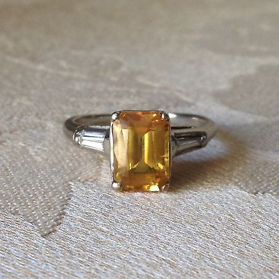 Spectacular Yellow Sapphire And Diamond 14K White Gold Ring