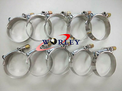 "10x3"" Inch / 76mm ID Stainless Steel T-Bolt Turbo Silicone Hose Clamps (79-87mm)"