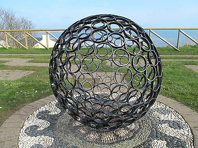 Metal Steel Garden Sculpture-Ball-Sphere-Art-Modern-Handmade-Garden-Silver