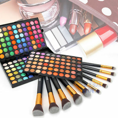 10Pcs Makeup Brushes + 180 Color Eyeshadow Palette Eye Shadow Cosmetic Set GIFT