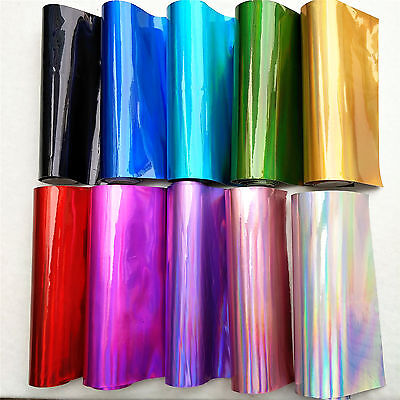 Holographic Mirrored Vinyl Leatherette Fabric Iridescent Faux Leather Roll Craft