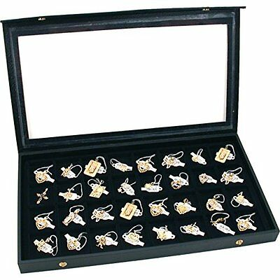 Organizers Charm Jewelry Trays 32 Earring Display Case Clear Top Black Box Chest