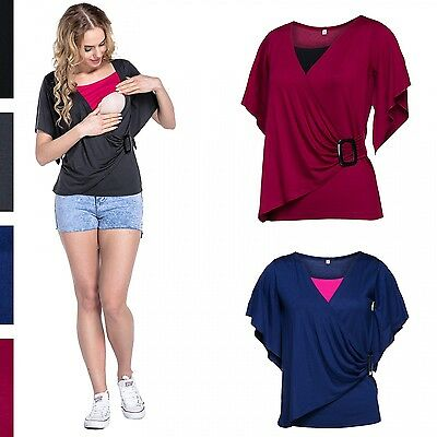 Happy Mama. Women's Nursing Double Layer Top Round Neck Breastfeeding. 722p