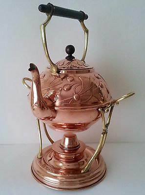 COPPER & BRASS ART NOUVEAU SPIRIT KETTLE & STAND, BY CARL DEFINER,  1900 to 1905