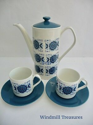 """Johnson Brothers Snowhite """"Engadine' Coffee Pot & Pair Of Cups & Saucers - Fab"""